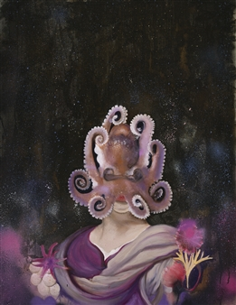 """Woman with Octopus Oil & Spray Paint on Fine Linen 36"""" x 30"""""""