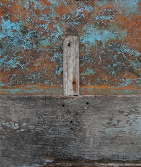 """Paesaggi in Allerta Meteo No 3 Right Up Mixed Media on Wood 16"""" x 14"""""""