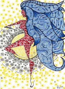 """La Moza Espirituosa Black Fine Point Pen & Colored Markers on Paper 17"""" x 11"""""""