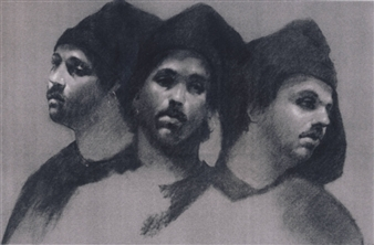 """Three Faces Charcoal on Paper 22"""" x 28"""""""