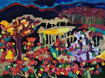 "Solitary Garden Oil on Canvas 17.5"" x 23.5"""