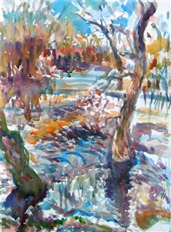 "Ipswich River, Topsfield Watercolor on Paper 39"" x 31"""