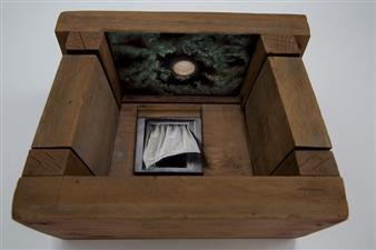 "Ventana al Inconsciente  (Window to the Unconscious) Oil on Wood 10"" x 11"" x 5"""