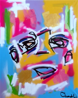 "Untitled 8 Acrylic, Marker & Spray Paint on Canvas 39.5"" x 31.5"""