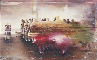 """Hurry Up Girls! Acrylic on Canvas 39.5"""" x 63"""""""