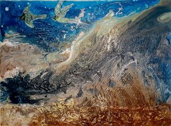 "Serenity Sea Oil, Acrylic, Gesso, Resin on Canvas 36"" x 48"""