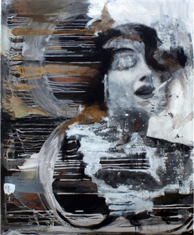 "A Cigarette Acrylic & Oil on Canvas 39.5"" x 31.5"""