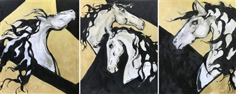 """Checkmate Series, triptych Acrylic on Canvas 24"""" x 60"""""""