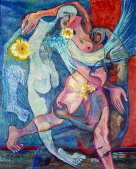 """Angel, Demonio, Carne Acrylic on Canvas 50"""" x 40"""""""