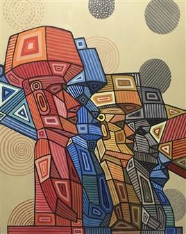 """Moai Acrylic on Canvas 39.5"""" x 31.5"""""""