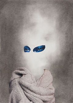 """Dream Rooms no. 7 - Sweater Collage & Mixed Media on Paper 24"""" x 20"""""""