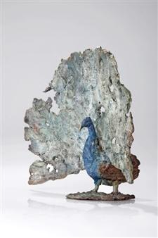 """Proud Peacock Bronze 12"""" x 12"""" x 6"""""""