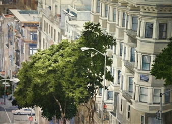 """Trees of SF  (1) Watercolor on Paper 22"""" x 30"""""""