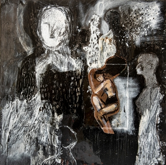 """Gedankenlabyrinth Mixed Media and Collage on treated Black Iron 16"""" x 16"""""""