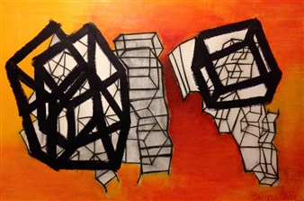 """Untitled 1 Acrylic & Charcoal on Canvas 42"""" x 63"""""""