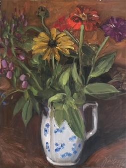 """Flower of Summer 2 Oil on Linen Paper 16"""" x 12"""""""