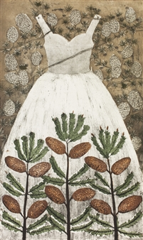 """Kapypuku  (Cone Dress) Etching on Paper 39.5"""" x 24"""" <span style='color:red;'>Sold</span>"""