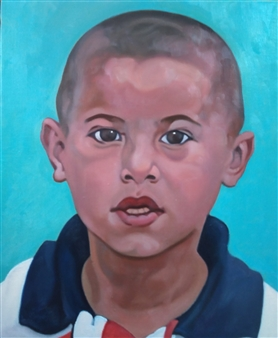 "A Little Boy at Samarkand Oil on Canvas 18"" x 15"""
