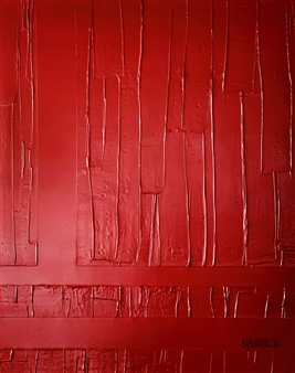 """Red Wood Gesso, Acrylic & Spray Paint on Canvas 39.5"""" x 31.5"""""""