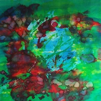 """A Fathom Too Far Silk on Canvas 30.5"""" x 30.5"""""""