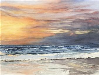 "California Del Mar Sunset Watercolor on Paper 18"" x 24"""