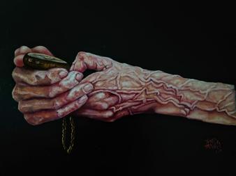 """Il Tempo Nelle Mani Dell' Esperienza Oil on Canvas 23.5"""" x 31.5"""""""