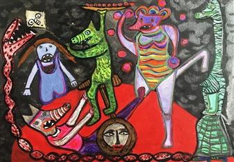 """Society Dust Acrylic on Canvas 12"""" x 16"""""""