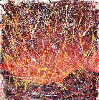 "Eruption Acrylic on Canvas 47.5"" x 45.5"""