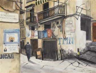 """Naples Side Street Watercolor on Paper 14"""" x 16"""""""