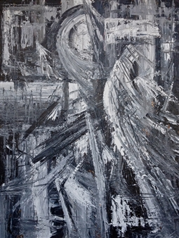 """Texture Black and White I Acrylic on Canvas 40"""" x 30"""""""