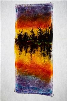 """Sunset Lake Glass Painting 9"""" x 4"""""""