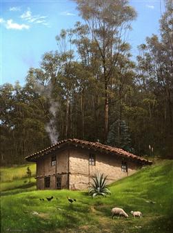 """Casa del Bosque Oil on Canvas 28"""" x 20"""""""