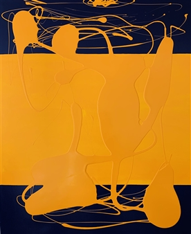 """Yellow Interference Latex & Acrylic on Canvas 47.5"""" x 39.5"""""""