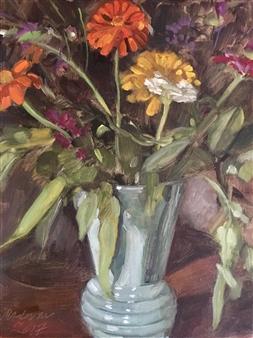 """Flower of Summer 1 Oil on Linen Paper 16"""" x 12"""""""