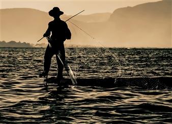 "Fisherman Digital Photograph on Fine Art Paper 17"" x 23.5"""