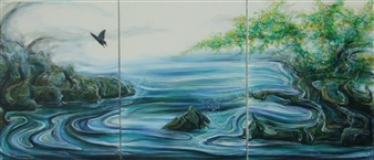 """Eight Beat Oil on Canvas 46"""" x 108"""""""