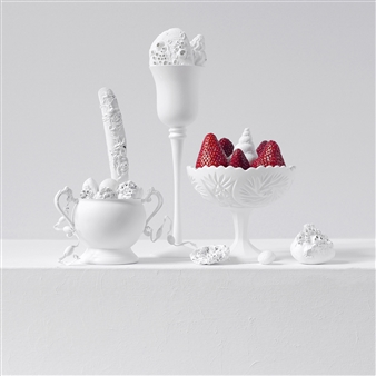 Still Life in White with Strawberries / second variation