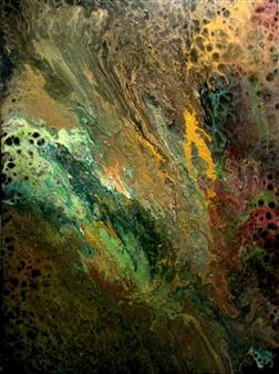 "Fauna Oil, Acrylic, Gesso, Resin on Canvas 48"" x 36"""