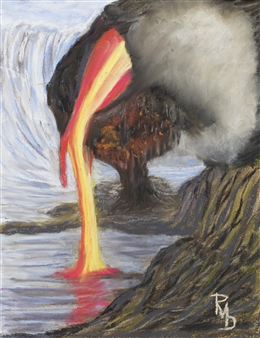 """Lava Flowing to the Sea Pastel on Canvas 14"""" x 11"""""""