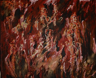 """Red Souls in the Forest Oil & Acrylic 63"""" x 75"""""""