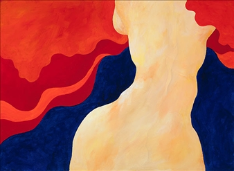 """Woman in Red Cloud Acrylic on Canvas 22"""" x 30"""""""