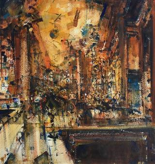 """Interior Watercolor 23.5"""" x 23.5"""""""