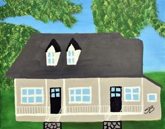 """Maison Sous les Arbres Acrylic on Canvas 22"""" x 28"""""""