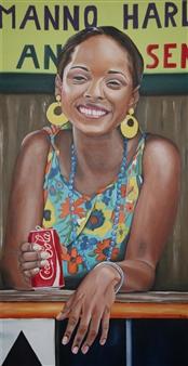 """Cuban Acrylic on Canvas 39.5"""" x 19.5"""""""