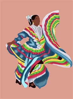 "Danza Tapatia #1 Digital Illustration 15"" x 11"""