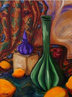 "Green Vase with Lemons Acrylic on Canvas 24"" x 18"""