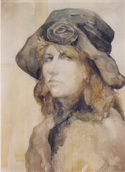 "Self Portrait Watercolor 20"" x 24"""