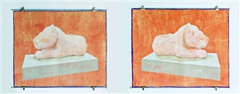 """Lion Cub  (diptych) Mixed Media on Fabric 20"""" x 48"""""""