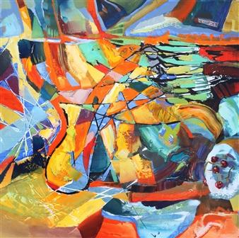 """The Mood Acrylic & Oil on Canvas 31.5"""" x 31.5"""""""