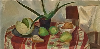 """Still Life with Aloe_2 Oil on Canvas 18"""" x 36"""""""